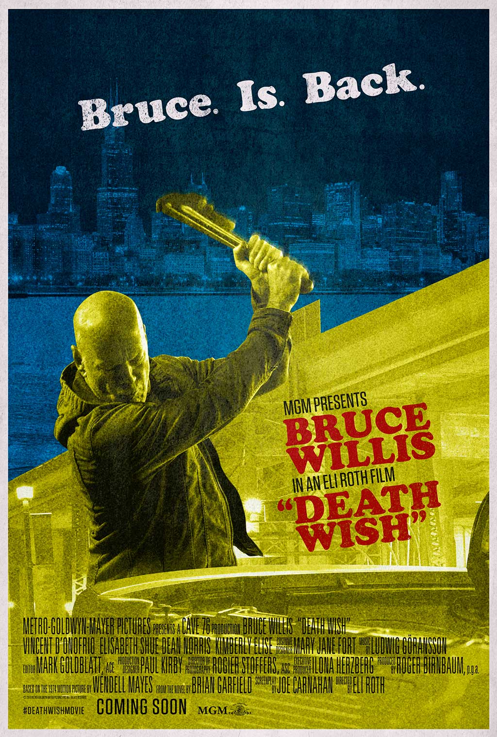 Death Wish Bruce WIllis Poster - OC Movie Reviews - Movie Reviews, Movie News, Documentary Reviews, Short Films, Short Film Reviews, Trailers, Movie Trailers, Interviews, film reviews, film news, hollywood, indie films, documentaries